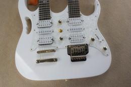 Acheter en ligne Guitare double goulots-Vente en gros Coude Double JEMM 7VV Floyd Rose Vibrato Double cou 7VV Floyd rose Guitare Electrique Blanc 6 / 6Strings 7VV GUITAR WHOLESALE