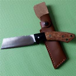 Trefilado de acero en Línea-Limited ACERO FRÍO Palo de rosa y ébano cuchillo fijo 9Cr18Mov cuchilla de acero al aire libre Dibujo de alambre Cuchillo táctico de accionamiento manual