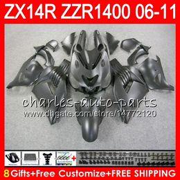 Body For KAWASAKI NINJA ZZR1400 14 R ZX14R 06 07 08 09 10 11 63HM8 ZZR Matte black 1400 ZX-14R ZX 14R 2006 2007 2008 2009 2010 2011 Fairing