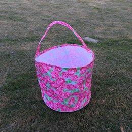 Wholesale LLY Flamingo Pâques Seaux Vente en gros Blanks Tissu Boho Rose Candy et oeufs Collecte Easter Seaux en couleurs DOM106432