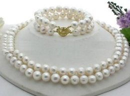 Hot sell 2 row 9-10mm natural akoya white pearl necklace 18inch 14k gold clasp free bracelet 7.5-8inch