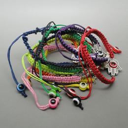 Lot of 12pcs-Large Hamsa Evil Eye Bracelets Kabbalah Lucky Charm Jewelry hand made Free Shipping~