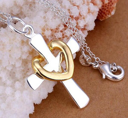 925 silver necklace gold and silver Crosses necklace fit snake chain necklace 18inch Free Shipping