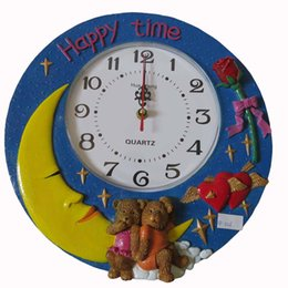 Wholesale Poly Resin Lovely teddy bear wall decoration and wall clock hanging the factory SP