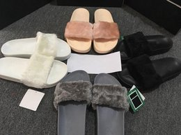 Wholesale With Box Dust Bag Cheap New RIHANNA LEADCAT FENTY WOMEN SLIPPERS Girls Fashion Indoor Slide Sandals Scuffs Grey Pink Black White