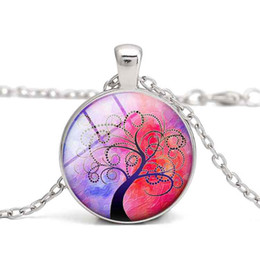 Pendant Necklace Tree of Life Glass Cabochon Purple Green Tree Charm Women Clothes Jewelry Alloy Wholesale