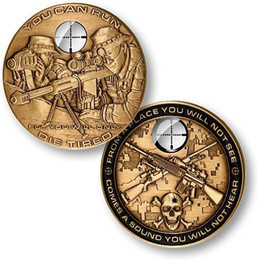 Wholesale 5pcs The USA USMC sniper rifle sniper gold plated challenge coins US army