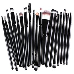 Mybasy 20Pcs Eye Makeup Brushes Eyeshadow Powder Blush Eye Shadow Eyeliner Lip Brush Cosmetic Kit Beauty Tools Black