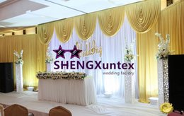 White And Gold Wedding Backdrop Curtain Free Shipping