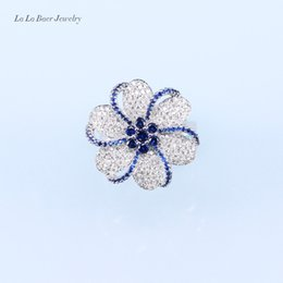 L&B A Pretty Ring Blue Zirconia White Crystal Silver Color Rings For Women Wedding Party Birthday Present For Women or Lady