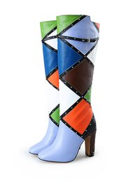 Fashions Mixed Color Over the knee Long Boots Spring Chunky Heels 10CM Thigh-High Boots Round Toe Rivets Motorcycle Shoes Woman