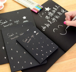 Wholesale Sketchbook Diary for Drawing Painting Graffiti Soft Cover Black Paper Sketch Book Notebook Office School Supplies Gift s