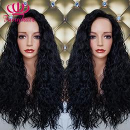 Acheter en ligne Les brunes-Noir brun longue perruque synthétique sans lacets front avant perruque bouclée perruque cheveux résistant à la chaleur pour les femmes noires expédition rapide