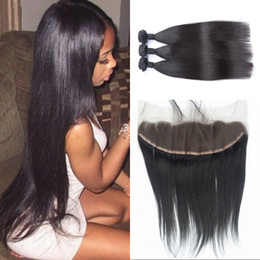 13x4 Lace Frontal Closure With Bundles Cambodian Virgin Human Hair STRAIGHT With Lace Frontal Closure With Hair Weave G-EASY