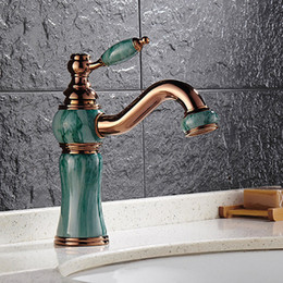 Wholesale European Style Cheap Bathroom Sink Faucets With Jade Painting Rose Golden Rotatable Bathroom Faucets For Vessel Sinks HS328