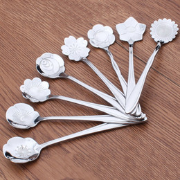 Wholesale Flower Shape Sugar Stainless Steel Silver Tea Coffee Spoon Teaspoons Ice Cream Flatware Kitchen Tool Best Price DHL Shipping Free