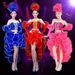 Jazz rosa en Línea-(Top + skrit + cuff) traje femenino traje de danza moderna trajes de danza de jazz vestidos de lentejuelas ropa de adultos de color rosa bailarina estrella