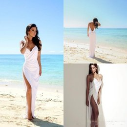 Spaghetti Straps Sexy V Neck Beach Wedding Dresses 2017 Summer Side Split Chiffon High Quality Sheath Wedding Bridal Gowns Custom Made Cheap