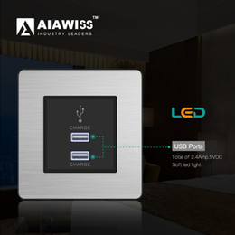 AIAWISS 2017 high quality eu 2 usb ports wall socket univerisal,ouelet with LED