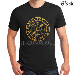 New Vegvisir Futhark Runes Navigator T-Shirts Viking Compass Tee Men Camiseta Gold print classic High quality t shirt Iceland