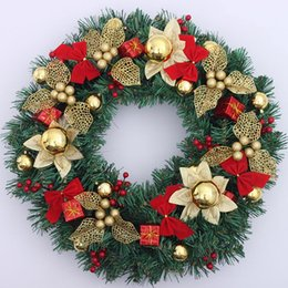 Wholesale 2016 New cm cm Wreath Christmas Decoration Gift Garland Hangings Red Christmas Wreath Ring Base Door Hanging Garishness Decorations