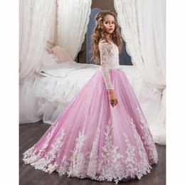 Canada Real Photos Party Formal Pink Flower Girl Robe Baby Pageant Gown Anniversaire Communion Kids Tutu Robe pour manches de mariage Princesse Lace Gowns kids tulle dress sleeves on sale Offre