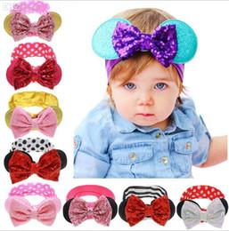 New girls Bow headbands baby sequins bowknot headband girls Striped cotton infants headbands Handmade baby headbands mix order free shipping