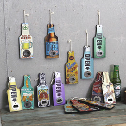 Wooden vintage hand drawing beer cola painting wooden bottle openers hang for restaurant bar shop home decorations