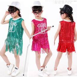 Children's Ballroom dancing clothing Tops+Pants Students performing Kids hip-hop jazz dance sequined Tassels Dancewear costumes