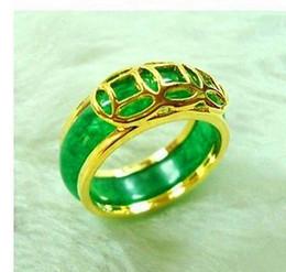 Unisex jewellery natural green emerald jade ring 7# 8#
