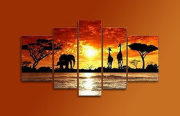 Wholesale Hand Painted Oil Paintings African Elephants And Deers Under Sunset Landscape Panels Framed Canvas Art Painting Ready to Hang