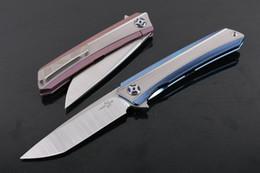Descuento bolas de rodamiento Promoción 2017 nuevo cuchillo plegable de la aleta de CH3002 S35vn 60HRC hoja de satén TC4 aleación de titanio del sistema de cojinete de bolas EDC cuchillos de bolsillo