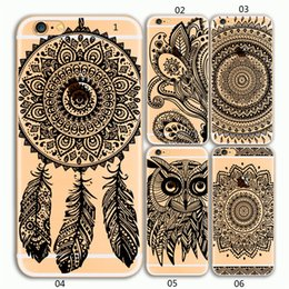 Phone Case For iPhone 6 6s plus 7 7Plus With Bowknot Hole Camera Cover New Mandala Retro Vintage Datura Flower Style