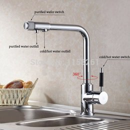 Wholesale New faucet chrome finish kitchen sink mixer tap faucet waterfall faucet kitchen taps cocina Kitchen faucetHJ
