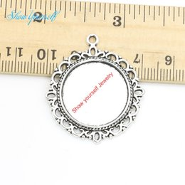 Wholesale Craft Pendant Frame Wholesale - Wholesale-10pcs lot Antique Silver Plated Round Photo Frame Charm Pendants for Necklace Jewelry Making DIY Handmade Craft 20mm
