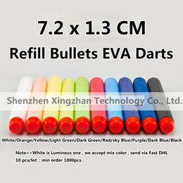 Soft Head 7.2 cm Refill Bullets EVA Darts for Series Blasters Magazine Kids Toy Gun Mega 10 Color
