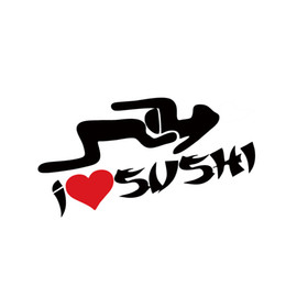 Promotion style amour sexuel Cool Graphics I Heart Sushi Love Srticker Funny Car Styling Asian Rice Head Sex Jdm Car Window Vinyl Decal Jdm