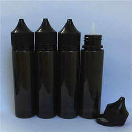 60ml Black Bottles E Liquid 60 ml Pen Shape Chubby Plastic Dropper Unicorn Bottle With Childproof Tamper Evident Caps Black Color For ejuice