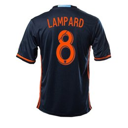 Wholesale 16 PIRLO LAMPARD DAVID VILLA away blue soccer jersey fans version football jersey shirt