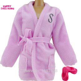 Wholesale 1 set x Bedroom Pajamas Robe Nighty Bathrobe Clothes x slippers For Barbie Doll Accessories Child Kids Best toys gift C