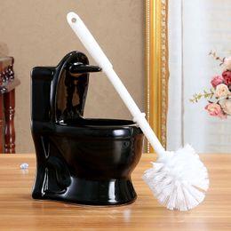 Wholesale Ceramic pieces toilet brush holder set colors ceramic mini toilet brush holder plastic toilet brush bathroom accessories