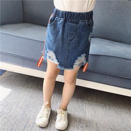 Niños mini lápiz en Línea-Moda Corea niñas faldas de mezclilla Niño mini falda lavado a línea de falda bebé lápiz faldas Niño pequeño vestido casual Niños Ropa A448
