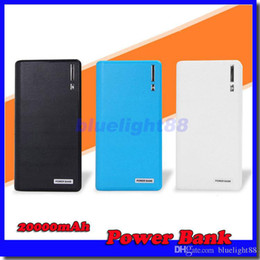20000mAh Power Bank 2 USB Port Charger External Backup Battery With Retail Box For iPhone iPad Samsung Mobile Phone