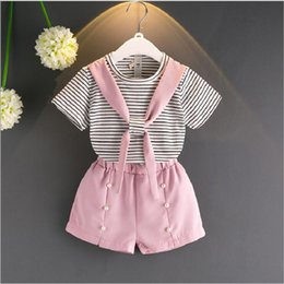 Children's clothing 2017 summer new girl cross collar striped cotton T-shirt + Dingzhu shorts two-piece suit