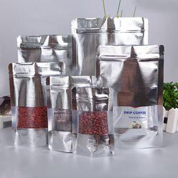 Descuento bolsas de embalaje reutilizables 20 * 30cm bolsa de almacenamiento de embalaje de la válvula de Mylar Stand Up Ziplock bolsa de aluminio de la hoja con la ventana para el paquete resellable Candy 50Pcs / Lot