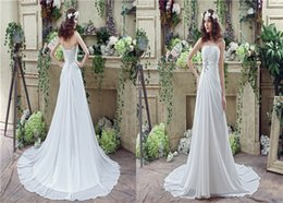 2018 Actual Photo Wedding Dresses Strapless A-line Beaded Chiffon Lace-up Appliques Bridal Gown Sweep Train Catwalk White Bridesmads Dress