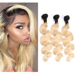 Resika Ombre Hair Weave T1b 613 Cheap Body Wave Blonde Virgin Human Hair Bundles 3pcs lot Preuvian Weft Free Shipping