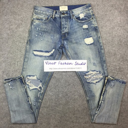 Wholesale Best version fear of god FOG men Selvedge zipper destroyed skinny slim fit justin bieber Vintage ripped blue denim jeans
