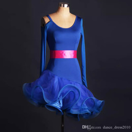 A113 New Adult Latin Dance Dress Salsa Tang Cha cha Ballroom Competition Group Dance Dress with belt S-XXL Customizable