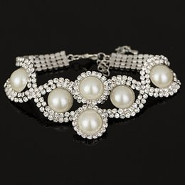 Fashion New Brand Design Luxurious sliver Charm Crystal Cubic Pearl Bracelet For Women Jewelry girl gift